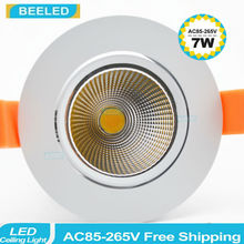 10pcs 2015 Newest 3W 5W 7W LED COB chip epistar downlight Recessed LED Ceiling light Spot White/ warm white Light Lamp 60d 1w led downlight recessed led ceiling light 1w spot light lamp white warm white led lamp epistar 1wx6pcs chip free ship
