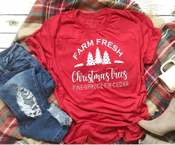 90s Christmas Tree.Us 7 9 15 Off Farm Fresh Christmas Trees T Shirt Mountain Graphic 90s Women Fashion Grunge Aesthetic Tumblr Shirt Festival Party Gift Tee Tops In