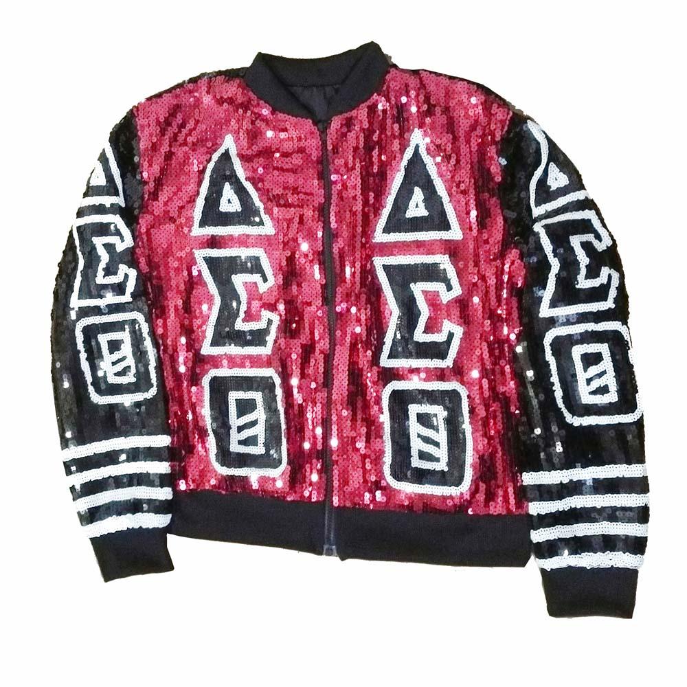 Paillettes rouge noir DST lettres sororité paillettes vestes Delta Sigma Theta Bling club vêtements & manteaux