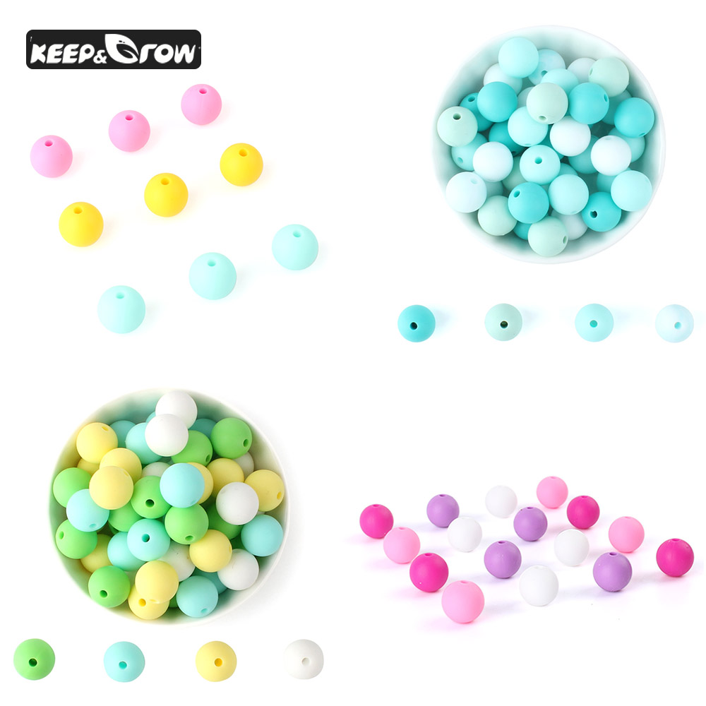 50PCS 12MM Silicone Beads Round Mixed Color Combination Beads Food Grade Silicone Beads Pacifier Chain Accessories Teething Toys
