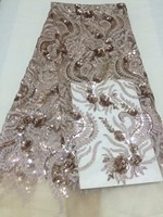 Latest African Sequins Unique Tulle Lace Hot New For Guipure African Sequence Net Lace Fabric For
