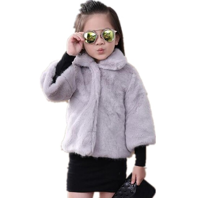 Furry Girls Faux Fox Fur Coats 2018 Kids Autumn Winter Jackets Single Breasted Christmas Princess