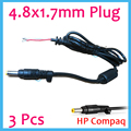 Free shipping . 3 pcs DC Plug 4.8 x 1.7 mm Bullet shape Connector + Cable For HP Hewlett Packard adapter Laptop Cord 1.2 meter