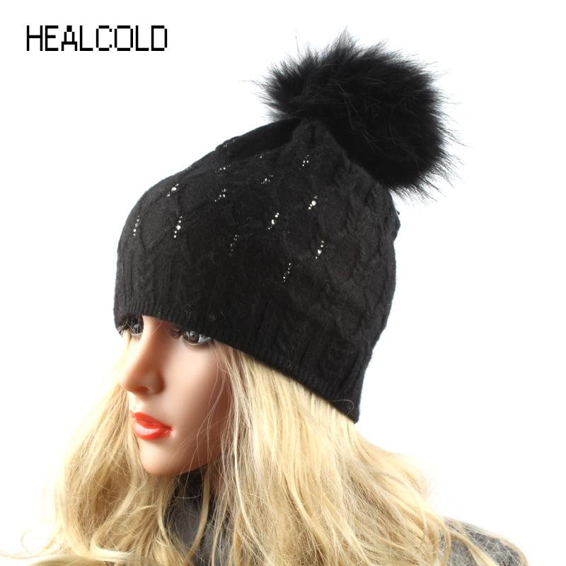 2017 Winter Real Fur Pompom Hats For Women Knitted Wool Beanies Ladies Warm Beanie Cap Skullies autumn winter beanie fur hat knitted wool cap with raccoon fur pompom skullies caps ladies knit winter hats for women beanies