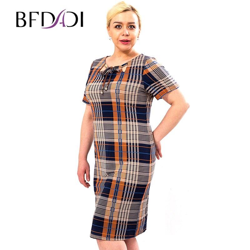 Bfdadi  nuevas mujeres dress casual o-cuello con la correa de manga corta plaid