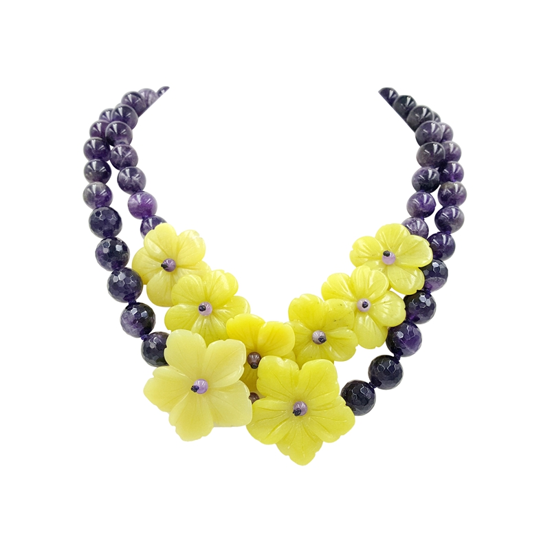 Lii Ji Natural Stone Amethyst Yellow Jade Flowers Jade OT Clasp Handmade Knitting Necklace For Women
