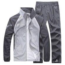 חדש גברים של סט אביב סתיו גברים ספורט 2 חתיכה סט ספורט חליפת מעיל + מכנסיים טרנינג זכר בגדי אימונית גודל 5XL