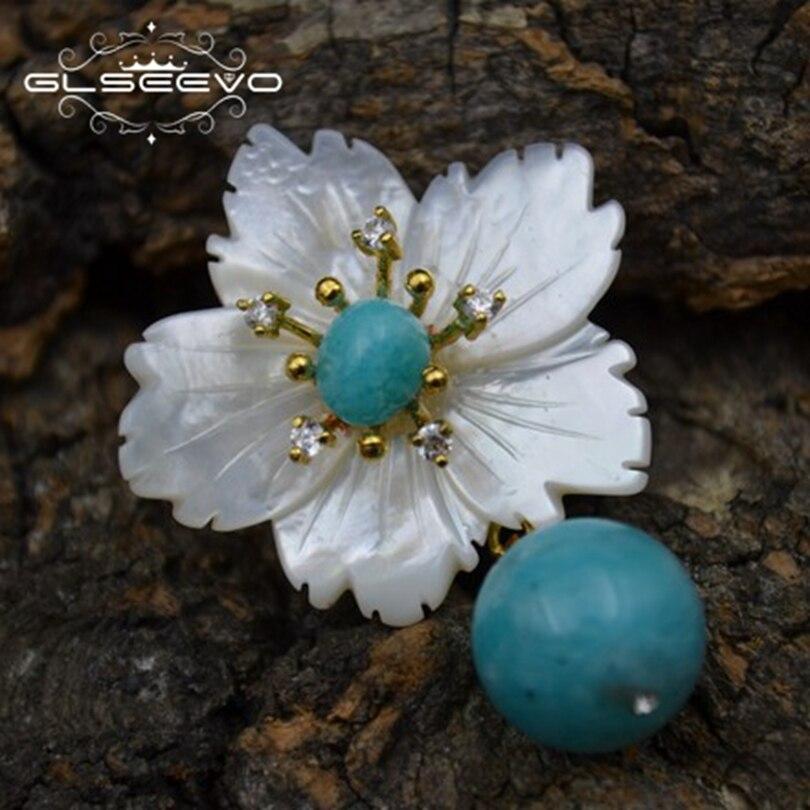 GLSEEVO naturel nacre fleur broche broches Rose Quartz broches pour femmes double usage Designer luxe bijoux fins GO0266