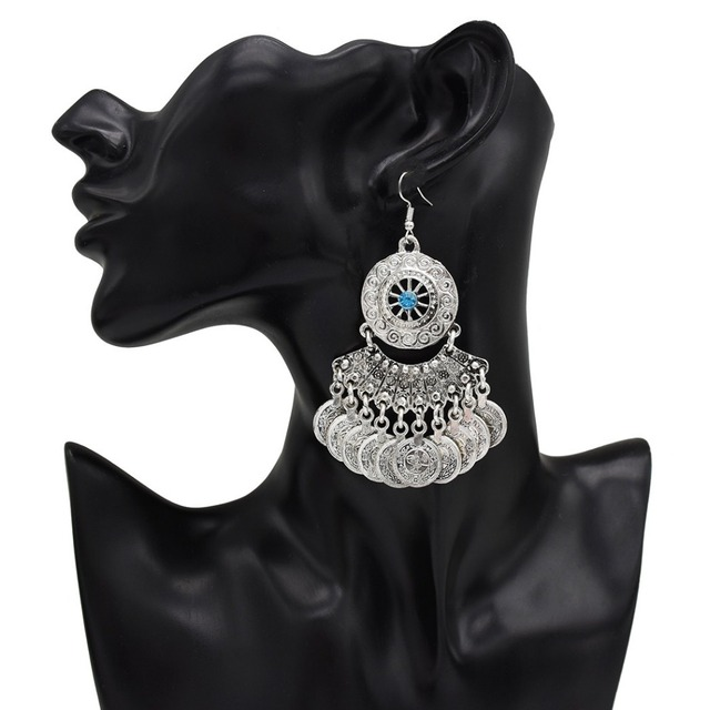 682876b0f Vintage Silver Turkish Coin Dangle Earrings Boho Gypsy Beachy Ethnic Tribal  Festival Jewelry Turkish Bohemian Earrings