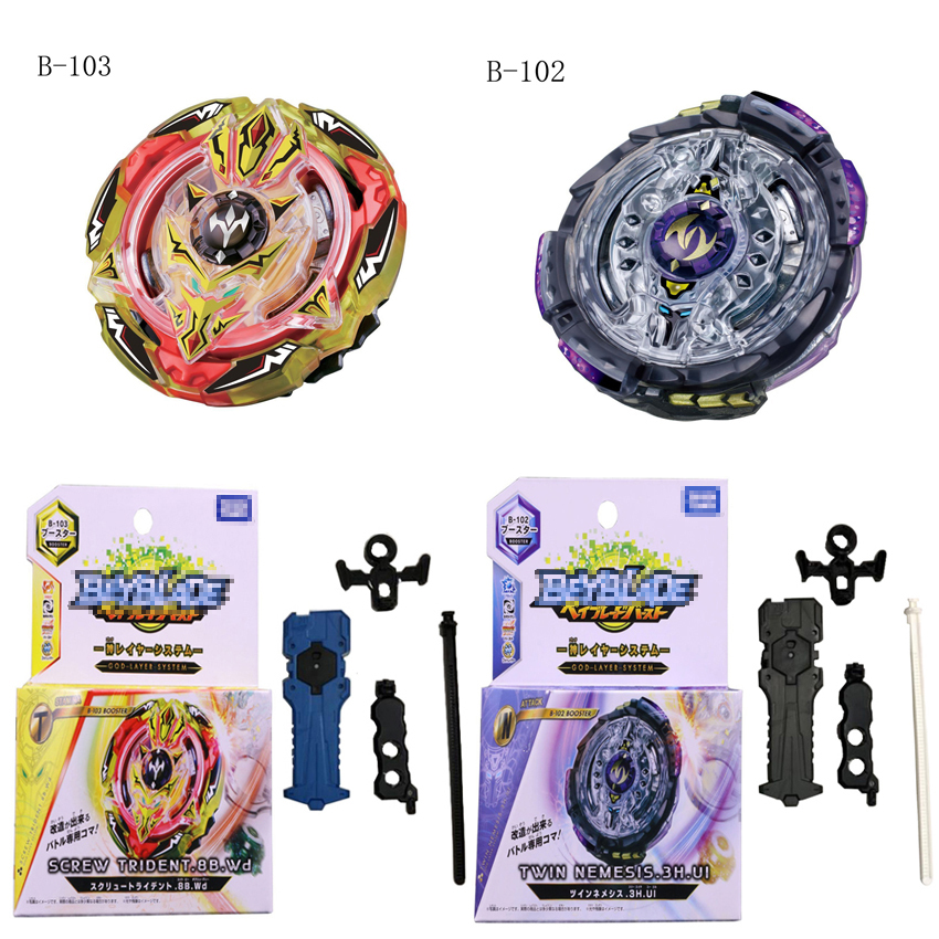 2 Style Super Beyblade Burst Metal Funsion 4D Spinning Top B102 B103 With Launcher And Box Classic Toy Fighting Gyro