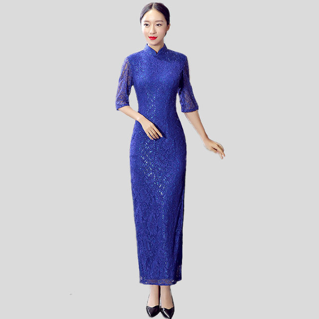 New Arrival Blue Chinese Women s Lace Cheongsam Stylish Summer Lady Long  Qipao Dress Mujeres Vestido Size 193c68172829