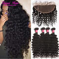 Brazilian Virgin Deep Curly 3/4 Bundles With 13*4 Ear To Ear Lace Frontal Closure 8A Deep Wave Human Hair Bundles With Baby Hair