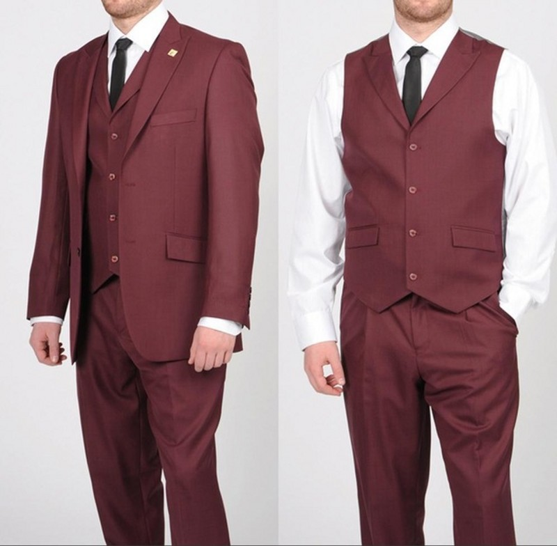 Dark Red 3 Pieces Single Breasted Mens Suits Wedding Suits for Men Groom Tuxedos Business Formal Suit (Jacket+Pants+vest+tie)