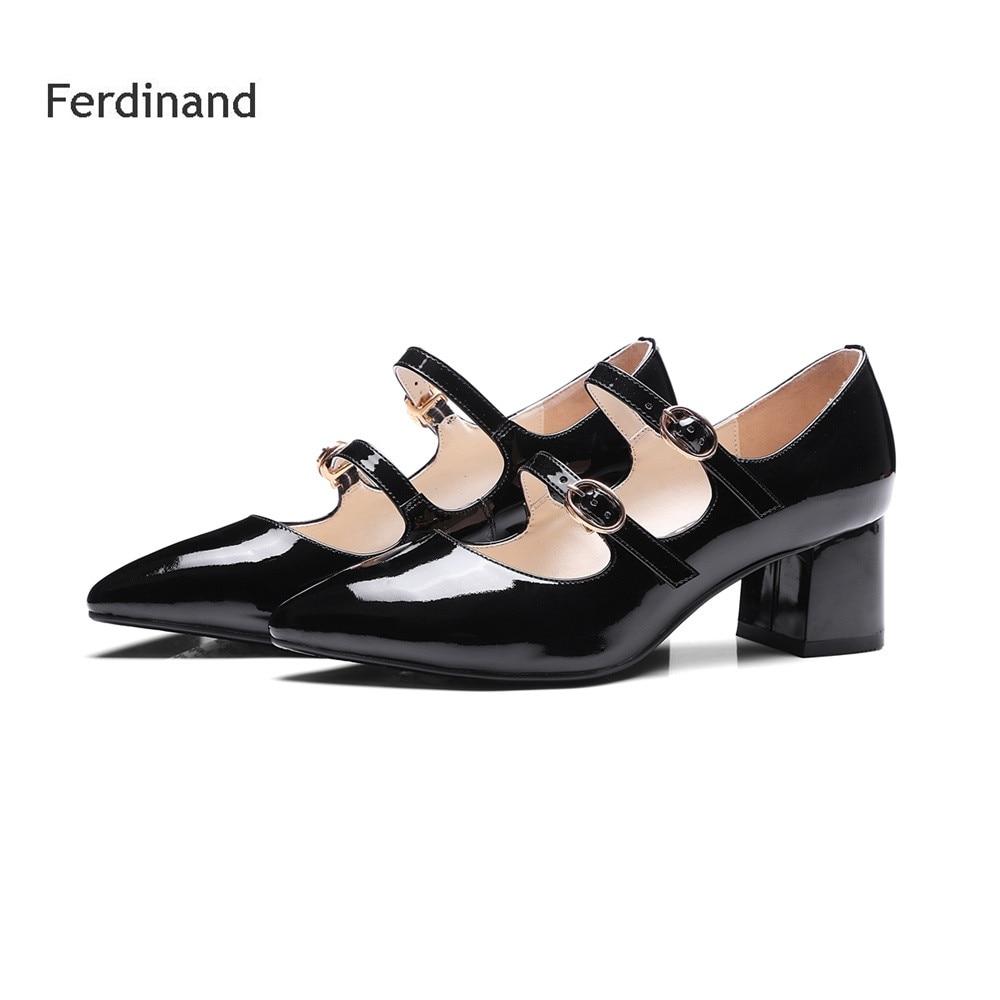 Women high heel shoes Buckle Square heel Pointed toe Genuine leather Women Pumps Summer Party shoes Solid color Black Red чехол для планшета hama piscine голубой для планшетов 10 1 [00173550]