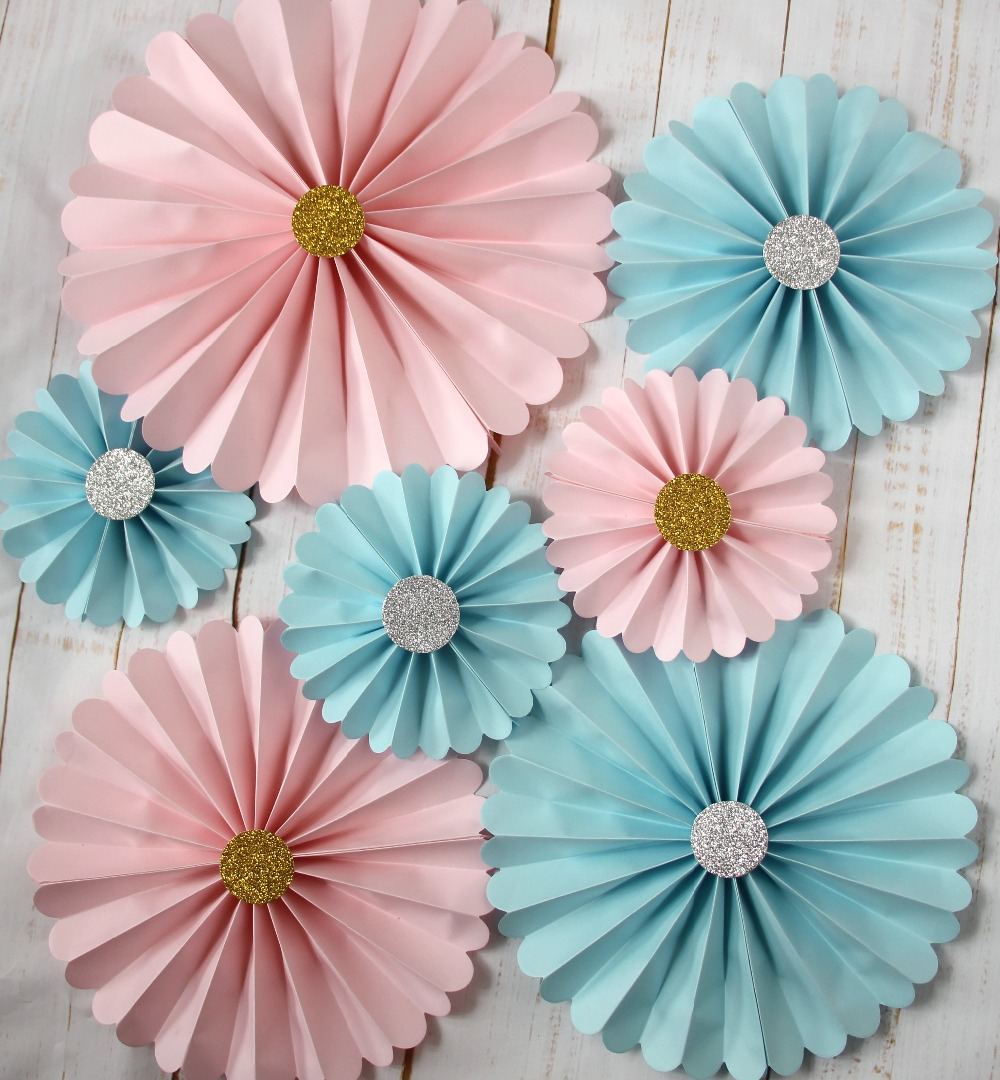 paper fan decorations wedding. pink paper fan decorations, blue pinwheels party wedding backdrop, baby shower and christening hanging decor-in backdrops from home decorations