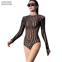PARTIEE BALEGER 2019 Sexy Hollow Out Net Long Sleeves O Neck Women Summer Swimsuit