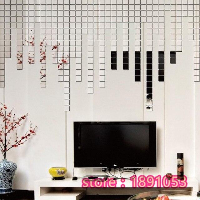 50 pz Effetto Lucido Acrilico 3D Wall Sticker Specchio Mosaico ...