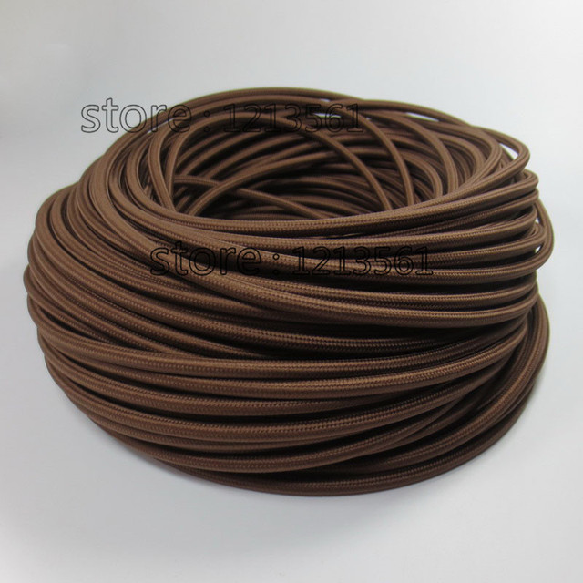6m 2*0.75 Brown textile fabric wire fabric cable covers vintage DIY ...