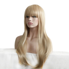 Soloowigs Straight Blonde Long Full Lace Wig High Temperature Fiber Full Bang Synthetic Hair for the American and European Women vogue full bang medium straight synthetic charming offbeat rainbow capless wig for women