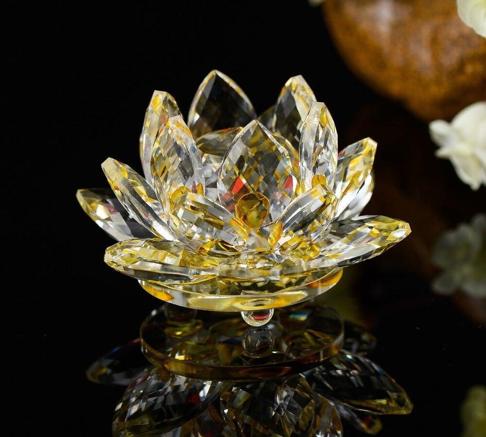 100mm Crystal Decorative Lotus Flower Handmade Crafts Natural