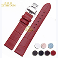 Thin Genuine leather watch strap women fashion watchband multicolor wristwatches band 12 14 16 18 20mm bracelet Butterfly buckle