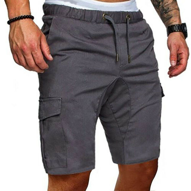 Hot Mens Summer Shorts Casual Solid Pocket Gym Sport Running Workout Cargo Pants Jogger Trousers 2019 1