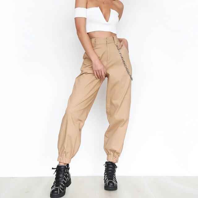 נשים גבוהה Streetwear מותניים מוצק מתכת שרשרת קלע מטען מכנסיים Harajuku שחור לבן חאקי צהוב ירוק מכנסיים ארוך Jogger 2XL