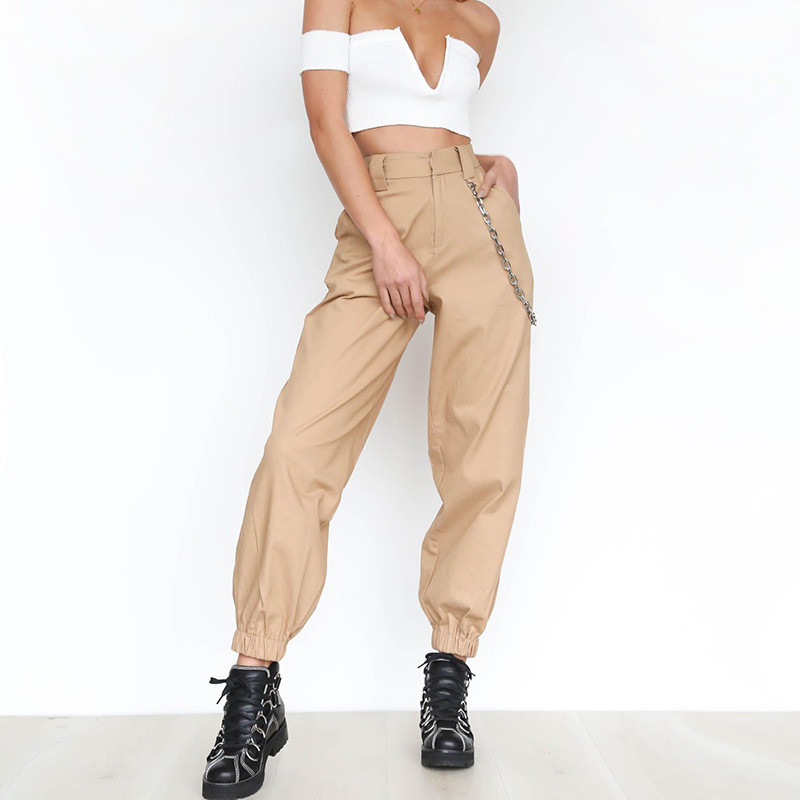 Women Streetwear High Waist Solid Metal Chain Sling Cargo Pants Harajuku Black White Khaki Yellow Green Trousers Long Jogger 2XL