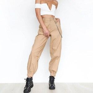 Image 1 - 여성 streetwear 하이 웨스트 솔리드 메탈 체인 슬링 카고 바지 하라주쿠 블랙 화이트 카키 옐로우 그린 바지 롱 조거 2xl
