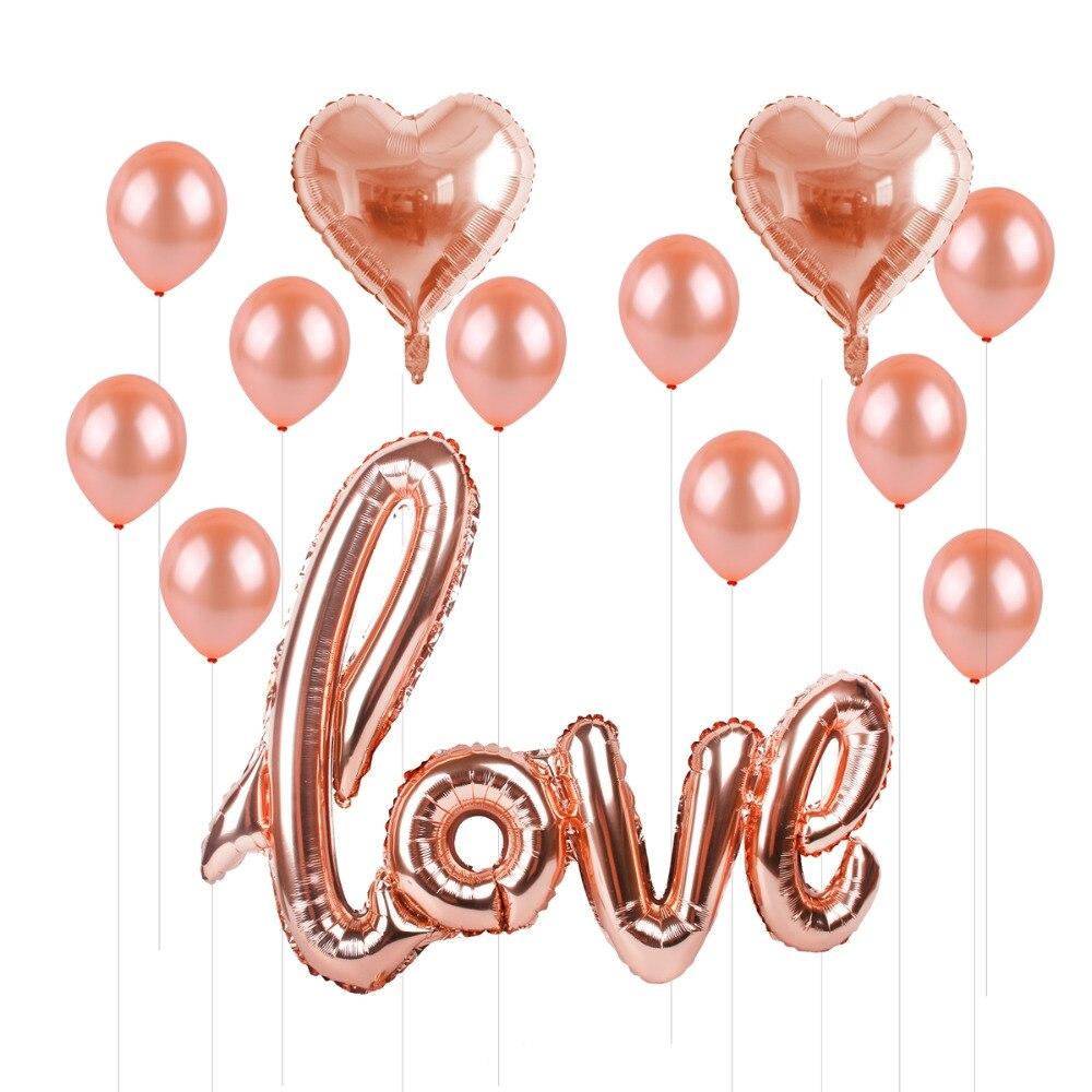 Купить с кэшбэком FENGRISE Rose Gold Baloon Love Balloon Ballons Birthday Valentines Day Baloons Birthday Gift Big Giant Wedding Party Decoration