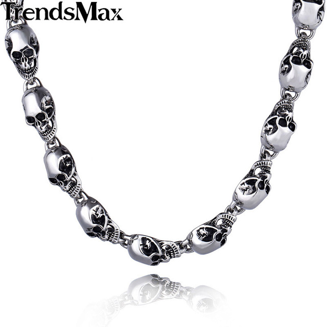Trendsmax 13mm Heavy Gothic Skulls Link Boys Mens Chain Biker Chain 316L Stainless Steel Necklace T/O Toggle Clasp HN36