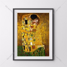Gustav Klimt The Kiss Posters and Prints Canvas Art  Painting  Wall Pictures For Living Room Decoration Home Decor No Frame стоимость