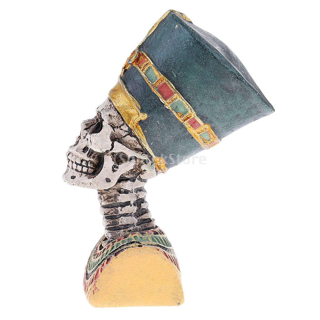 Ancient Egyptian Pharaoh Figurine Statue Resin Skull for Halloween Decoration Collectible