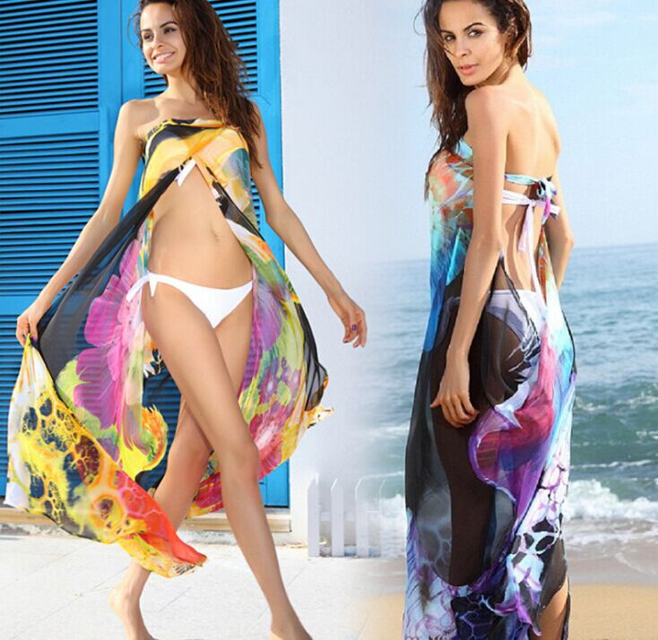 Chiffon Bandage Wrapped Yarn Mantillas Bikini Beach Cover Dresses excluding Bikini strapless swimwear 2016 women flower