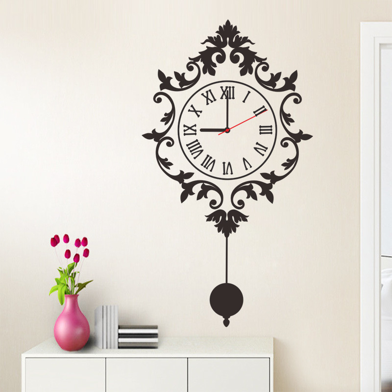 3d self adhesive wall clock stickers fancy watch for livingroom