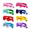 Регулируемый милый галстук для собак и кошек, нейлоновый ошейник с колокольчиком и котенком карамельных цветов, галстук-бабочка, бант, ошей...