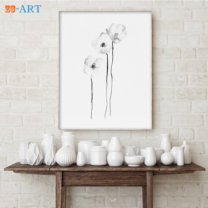 Framed Watercolor Poppies Minimalist Wild Flower Painting Floral Drawing Flower Wall Art Botanical Wall Decor Homegoods Poppy-in Painting u0026 Calligraphy from ... & Framed Watercolor Poppies Minimalist Wild Flower Painting Floral ...