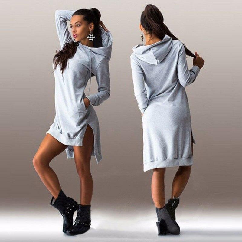 HTB11ZgPEoR1BeNjy0Fmq6z0wVXaw Women Slim Hoodie Dress 2019 Autumn Winter Long Sleeve Casual Dress Hooded Pockets Sportwear Female Fashion Women Clothing