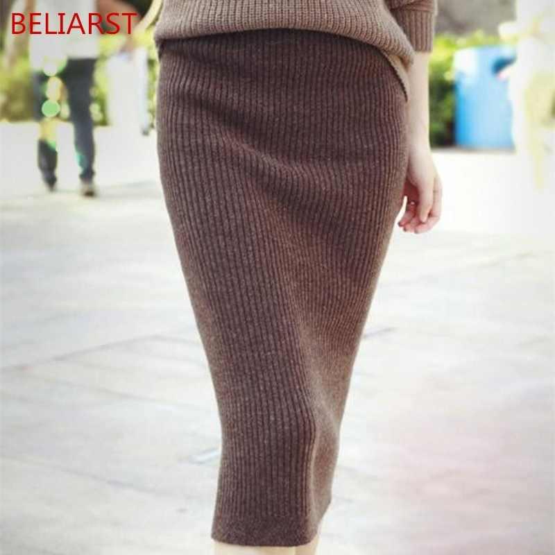 BELLIARST/Новинка 2019 года; сезон весна-осень; кашемировый чехол; Женская облегающая юбка; облегающая трикотажная шерстяная юбка