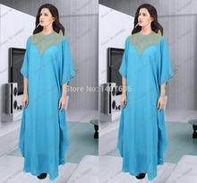 Abaya In Dubai Für Verkauf Oansatz Gold Perlen Marokkanischen Kaftan Frauen Party Volle Hülsen Arabisch Blaue Lange Abendkleider 2016