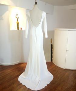 Image 4 - Marfim sereia simples vestidos de casamento 2021 moda jóia manga longa sem costas nupcial praia boêmia vestidos zw007