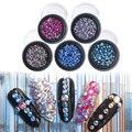 100 pçs/caixa 5 Cor 2-6mm Contas Círculo Rhines Cristal Colorido Da Arte Do Prego Ferramentas Do Prego 3D Brilho Das Unhas Art Manicure Decorazione