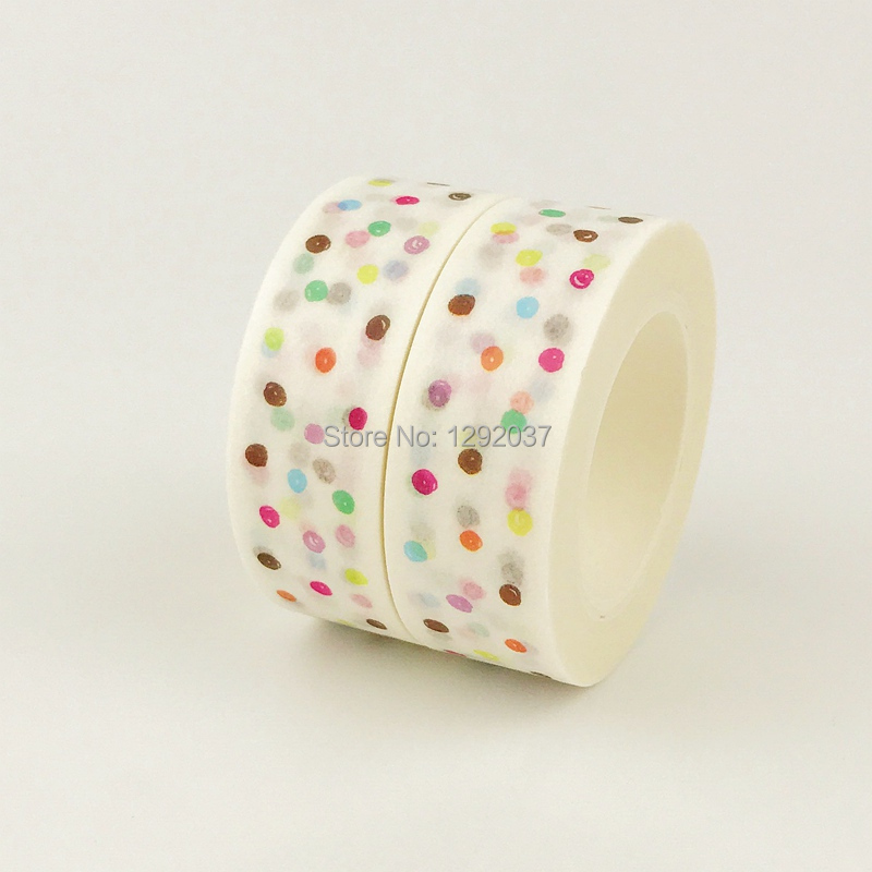 1PCS/Lot Japanese Mixed Colorful Washi Tape Dot Paper Masking Paper Tapes Decorative Adhesive Tapes Craft And School Supply