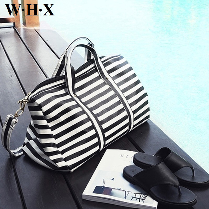 WHX Women Travelling Bag Leather Women Totes & Crossboby Bag Female Striation Travel Bags Shoulder & Messenger Handbag Classics