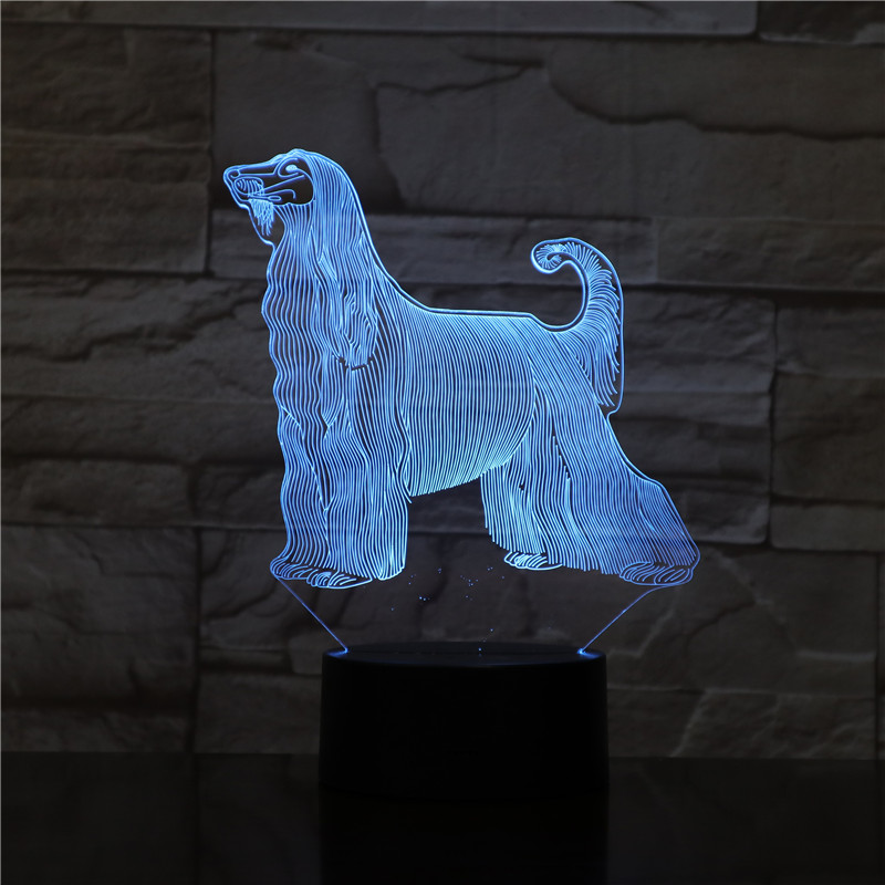 Afghan Hound Dog Desk Lamp Bedside 3D Illusion 7 Color Changing Room Decorative Lamp Child Kid Baby Kit Night Light LED Dog Gift