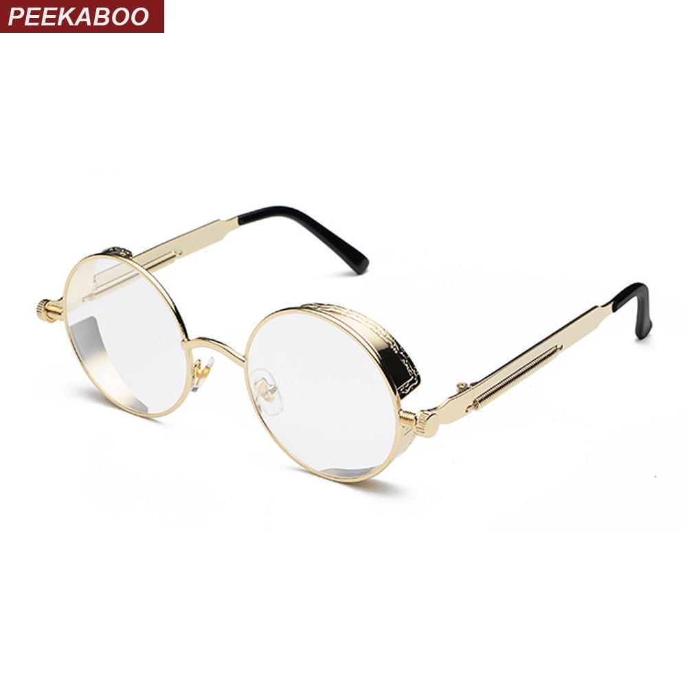 ec563846418 Peekaboo retro steampunk glasses frame men vintage gold silver black metal round  eyeglasses frame for women 2018