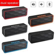 مصغرة سمّاعات بلوتوث المحمولة العمود باس مضخم دعم FM راديو AUX USB TF بطاقة ايفي سماعات محمولة للكمبيوتر فون