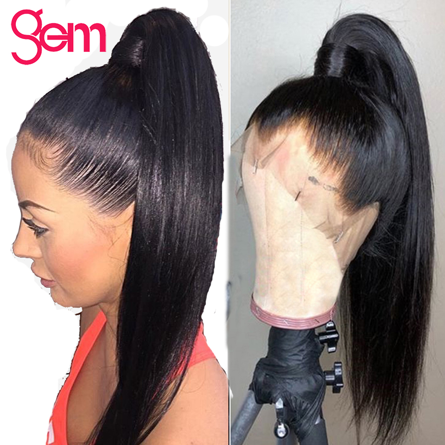 Straight Lace Front Wig 360 Lace Frontal Human Hair Wigs Pre Plucked With Baby Hair GEM