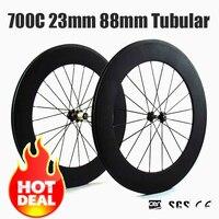 Catazer 700C 23mm Wide Road Bike Full Carbon 88mm Tubular Wheelset Chinese Carbon Wheels Velo Ruoto