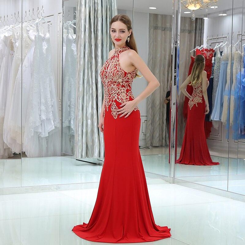 Långröd Aftonklänningar 2017 Mermaid Halter Ärmlös Guld - Särskilda tillfällen klänningar - Foto 4